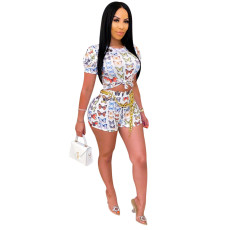 Sexy Butterfly Print Fashion Shorts Two Piece Set SH-3786