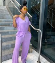 Plus Size Loose Casual Solid Color V Neck Jumpsuit SFY-141