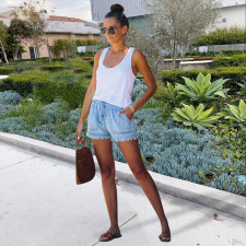 Casual Loose Mid Waist Denim Jeans Shorts NIK-138