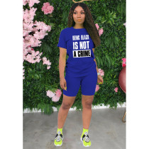 Casual Letter Print T Shirt Shorts Two Piece Sets IV-8102