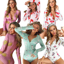 Trendy Printed Long Sleeve One Piece Rompers YIY-5158