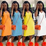 Simple Casual Solid Color Midi Dress OFN-6233