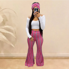 Plaif Print Mid Waist Long Flared Pants YIY-5161