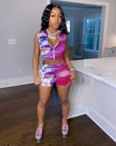 Fashion Casual Multicolor Printing Zipper Vest Shorts Suit OYF-8208