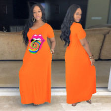 Plus Size 5XL Lips Print V Neck Maxi Dress YFS-3507