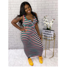 Plus Size 5XL Striped Sleeveless Maxi Dress YFS-3505