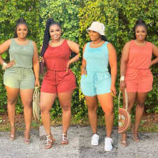 Plus Size 5XL Solid Sleeveless One Piece Rompers OFN-6386