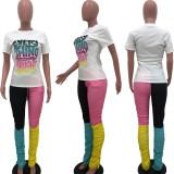 Copy Casual Printed Letters Contrast Color Folds Two Piece Set OJS-9216