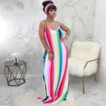 Colorful Stripe Spaghetti Strap Loose Maxi Dress SMR-9624