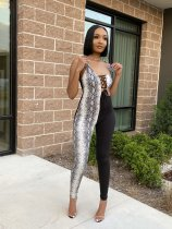 Snake Skin Print Patchwork Strap Jumpsuits YIS-501