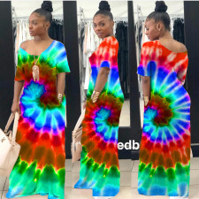 Plus Size Casual Tie-dye Short Sleeve Long Dress CQ-031