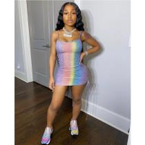 Multicolor Glitter Nightclub Suspender Dress Two Ways To Wear ASL-6277