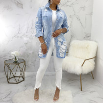 Casual Ripped Hole Button Long Denim Coats SMR-9625