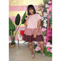 Color Splicing Petal Sleeve Big Swing Dress ASL-6278