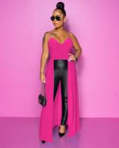 Elegant Sexy Suspenders Slim Irregular Long Dress YIS-502