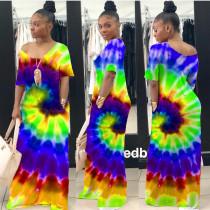 Plus Size Casual Tie-dye Short Sleeve Long Dress CQ-031