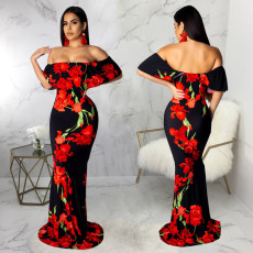 Floral Print Slash Neck Slim Maxi Dress SMR-9274