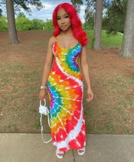 Plus Size Tie Dye Print Spaghetti Strap Long Dress LP-6221