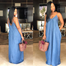 Plus Size Spaghetti Strap Loose Denim Maxi Dress SMR-8908