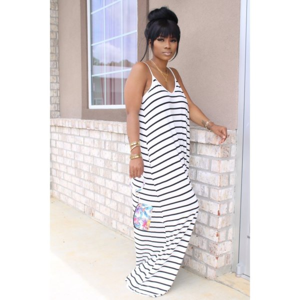Copy Colorful Stripe Casual Loose Slip Maxi Dress With Headscarf YIM-8109