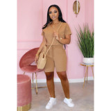 Copy Casual Solid V Neck Two Piece Shorts Set TK-6065