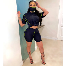 Casual Dropped Shoulders Two Piece Shorts Set With Mask ZSD-0293