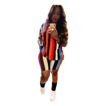 Plus Size Colorful Striped Two Piece Shorts Set BLI-2061