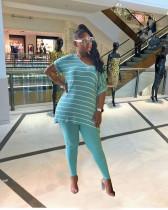 Plus Size 4XL Casual Striped Two Piece Pants Set YNB-7100