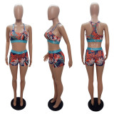 Trendy Printed Tank Top Shorts Two Piece Sets LSL-8042