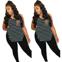 Plus Size Striped Sleeveless Two Piece Pants Set BLI-2062