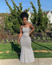 Sexy Striped Backless Strappy Maxi Dress XMY-9243