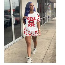 Plus Size Lips Letter Print Two Piece Shorts Set BLI-2067