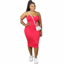 Plus Size Solid Sleeveless Bodycon Midi Slip Dress YNB-7103