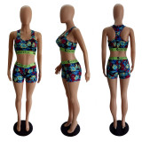 Sexy Printed Tank Tops Shorts Two Piece Suits LSL-8038