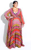 Plus Size 6XL Floral Print V Neck Bohemia Maxi Dress XMY-9026