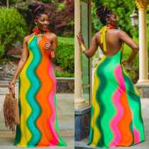 Sexy Rainbow Stripe Halter Backless Maxi Dress MN-9255