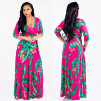 Plus Size 5XL Printed V Neck Bohemia Maxi Dress XMY-9025