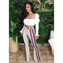 Colorful Stripe High Waist Long Flare Pants BGN-090