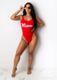 Sexy Letter Print Backless One Piece Swimsuit SHD-9277