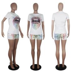 Lips Print T Shirt And Shorts Two Piece Sets SHD-9267