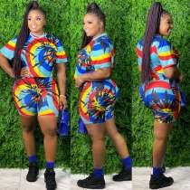 Plus Size 5XL Tie Dye Print Two Piece Shorts Set XMY-9249