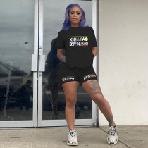Plus Size Letter Print T Shirt Shorts Two Piece Sets YIY-5188