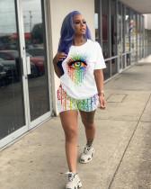 Plus Size 4XL Eye Print T Shirt Shorts Two Piece Sets ML-7339
