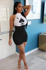 Plus Size 5XL Poker Print Sleeveless Skinny Bodycon Rompers NIK-142