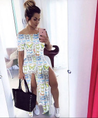 Butterfly Print Slash Neck High Split Maxi Dress KSN-5147