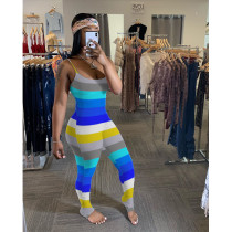 Plus Size 4XL Colorful Striped Ruched Jumpsuits SHE-7179
