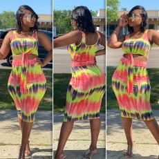 Plus Size Tie Dye Sleeveless Midi Skirt 2 Piece Sets SHE-7190