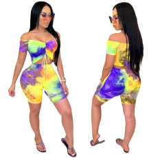 Plus Size Sexy Tie-dye Off Shoulder Short Sleeve Shorts Suits GS-1837