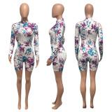 Floral Print Slim Long Sleeve Romper NIK-145