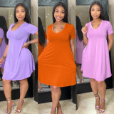 Simple Casual Solid Color Midi Dress TK-6098